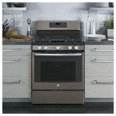 Ge Adora 5 0 Cu Ft Gas Range With Self Cleaning Convection Oven In Slate Jgb720eejes The Home De Gas Range Double Oven Freestanding Double Oven Double Oven