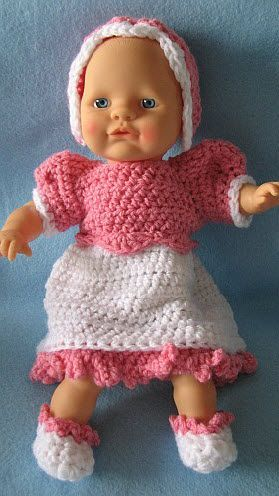 12 Inch Baby Doll Dress Bonnet And Shoes Free Crochet Pattern Crochet Doll Clothes Free Pattern Baby Doll Clothes Doll Clothes