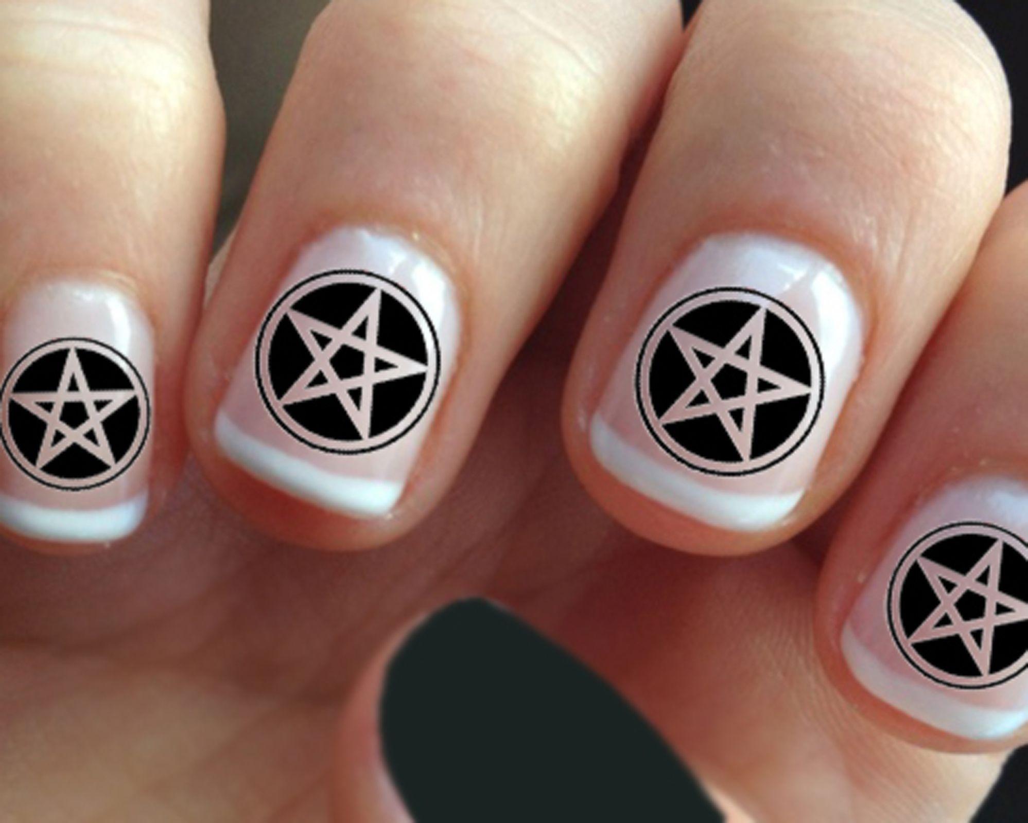 Dark Black PENTACLES / PENTAGRAMS Nail Art (PNT) | nails | Pinterest ...