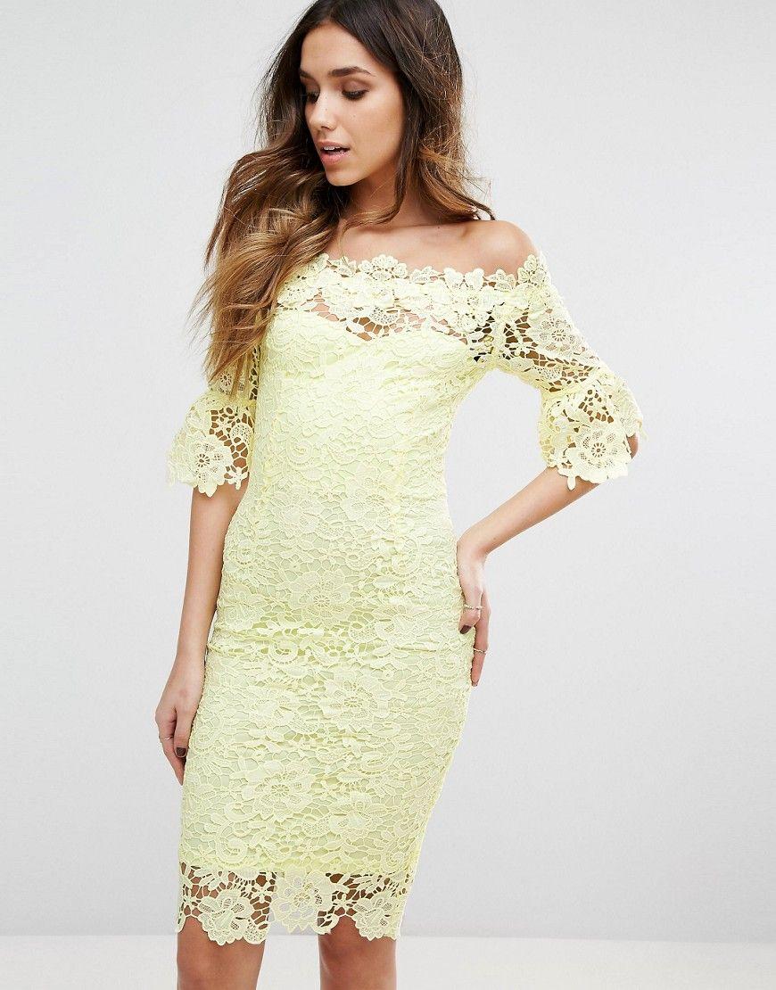 b3a85ef654b8 Paper Dolls Bardot Midi Lace Dress with 3 4 Fluted Sleeve - Yellow
