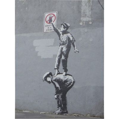 JaxsonRea Graffiti is a Crime by Banksy Graphic Art on Wrapped Canvas | Wayfair