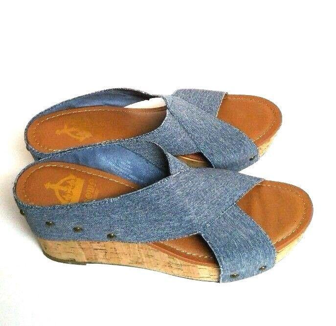 ddaa9c416ff Crown Vintage Denim Delight Wedge Shoes Cork Soles Platform Women s 9 Blue  Rivet  CrownVintage  PlatformsWedges