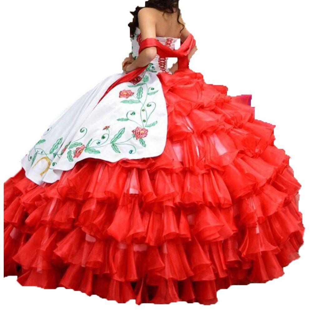 2e6fafad999 Diandiai Womens White Red Ball Gown Quinceanera Dresses Embroidery Prom  Bridal Dress 4