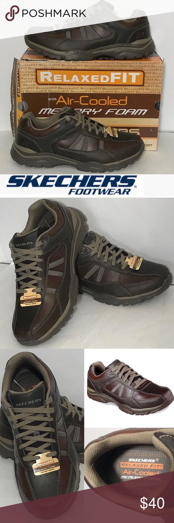 men's skechers shoes leather upper