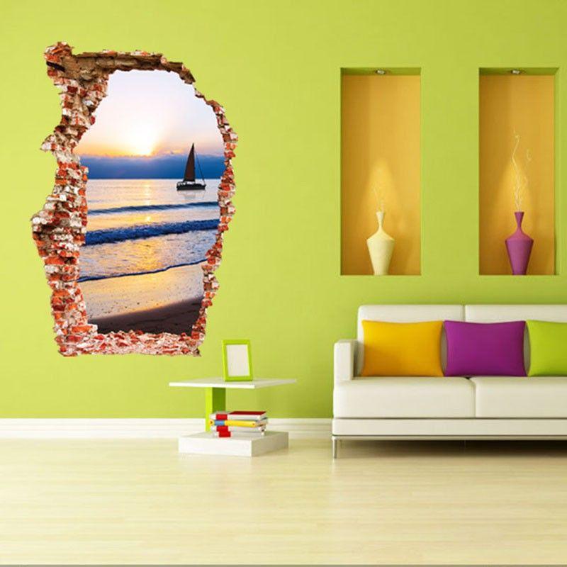 3D Wall Sticker Fashion Nature Sticker Brook Green Hill Mural Home ...