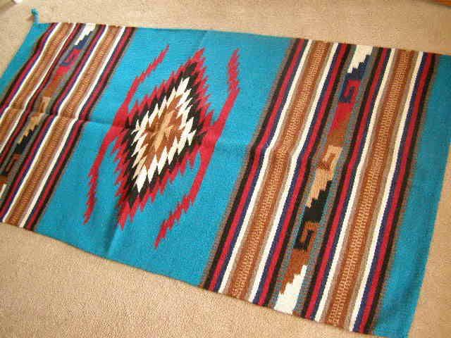 zapotec indian style southwestern floor rug 32x64 (64112