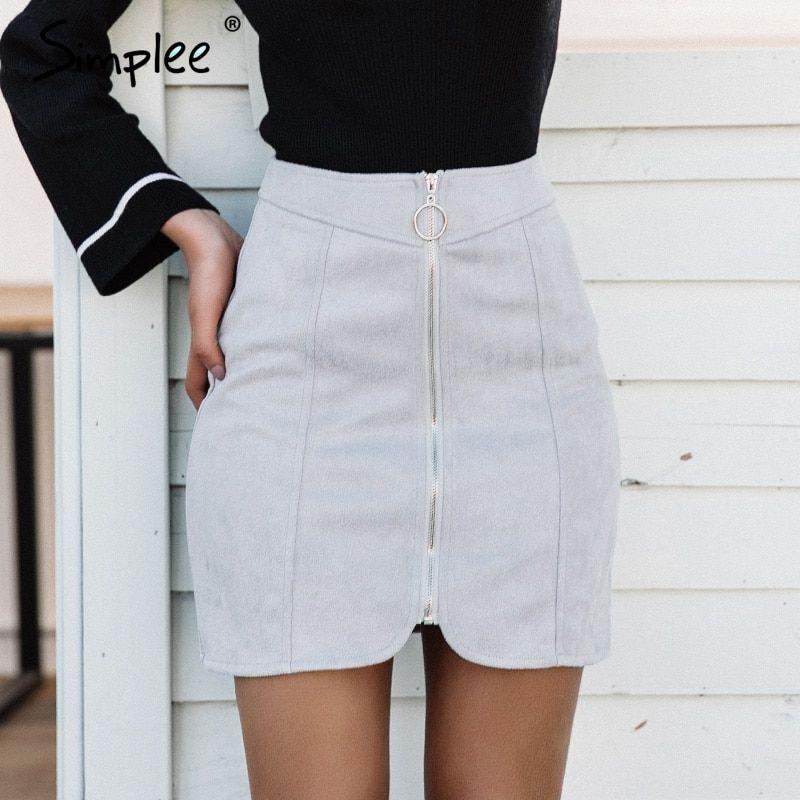 6a4401a5e8 Sexy leather suede pencil skirt women Zipper ring autumn winter high waist  short skirt Bodycon party mini skirt