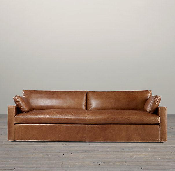 Belgian Track Arm Leather Sofas Restoration Hardware For Family Room A Good Option With Kids
