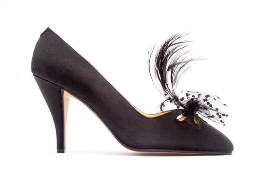 1efd7879e8c6a Andrea Pfister Vintage Feather Pumps • Black Satin High Heel Pumps ...