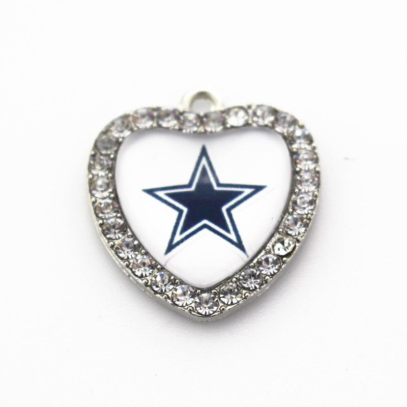 High quality 20pcslot usa football fashion jewelry sports nfl crystal heart dallas cowboys nfl football team sports pendant dangle charms for bracelet necklace diy jewelry accessory aloadofball Gallery