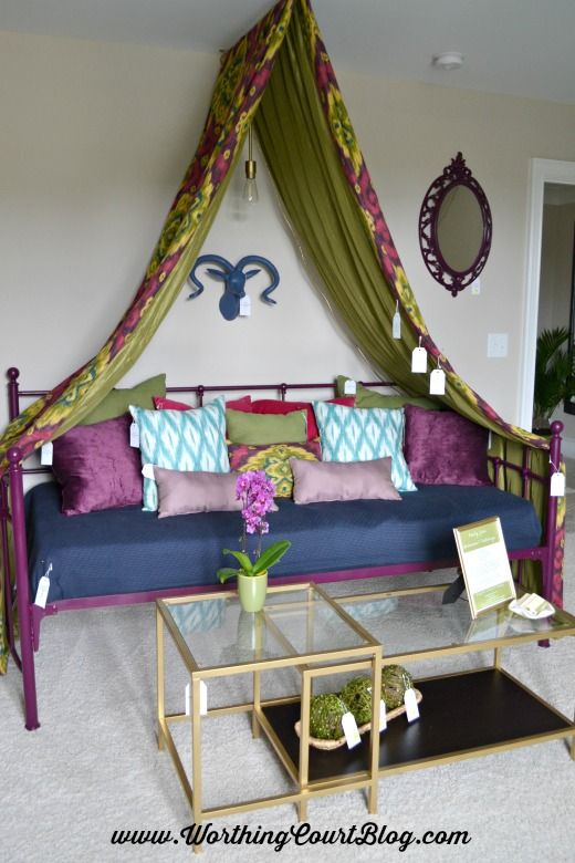 Canopy made with fabric above a daybed & Tour Of The Chic Chateau Showhouse | Daybed Canopy and Worthing
