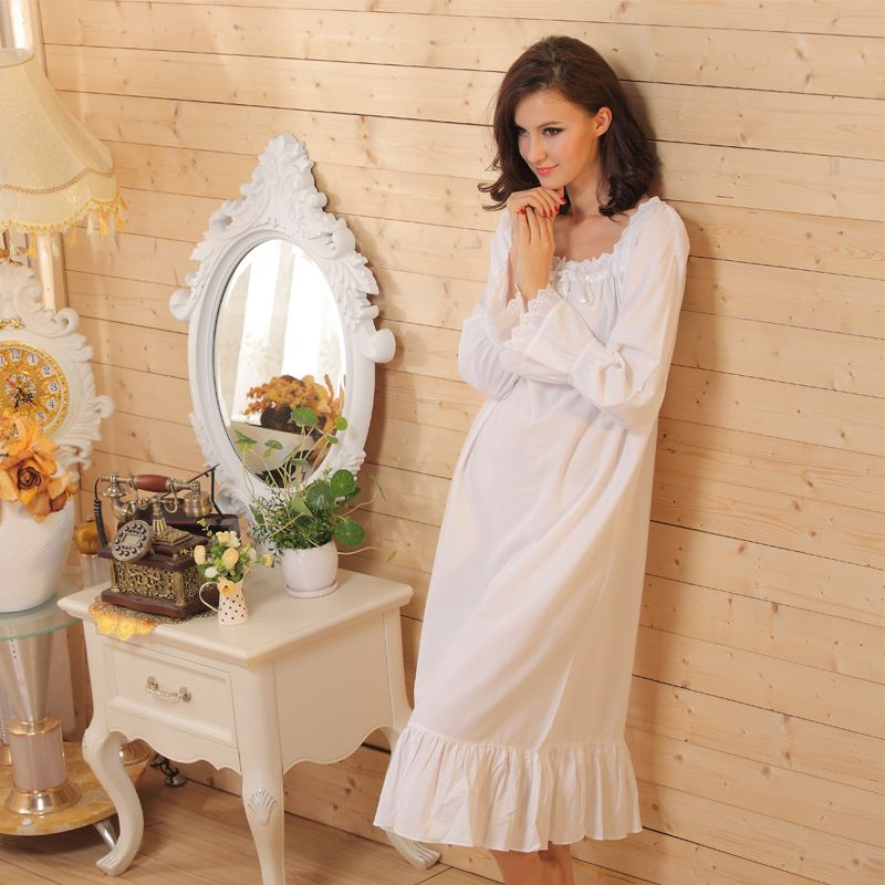 White Long Sleeve Long Nightgown Long White Nightgown Vintage Nightdress  for Women Cotton Sleepwear 084e3f4d6