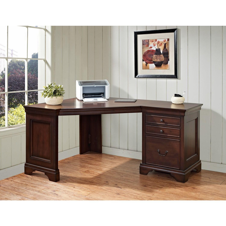 Corner Computer Desk  Delmont Cherry  Desks At Hayneedle