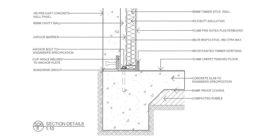 Pre Cast Concrete Wall Section Concrete Wall Concrete Wall Panels Wall Section Detail