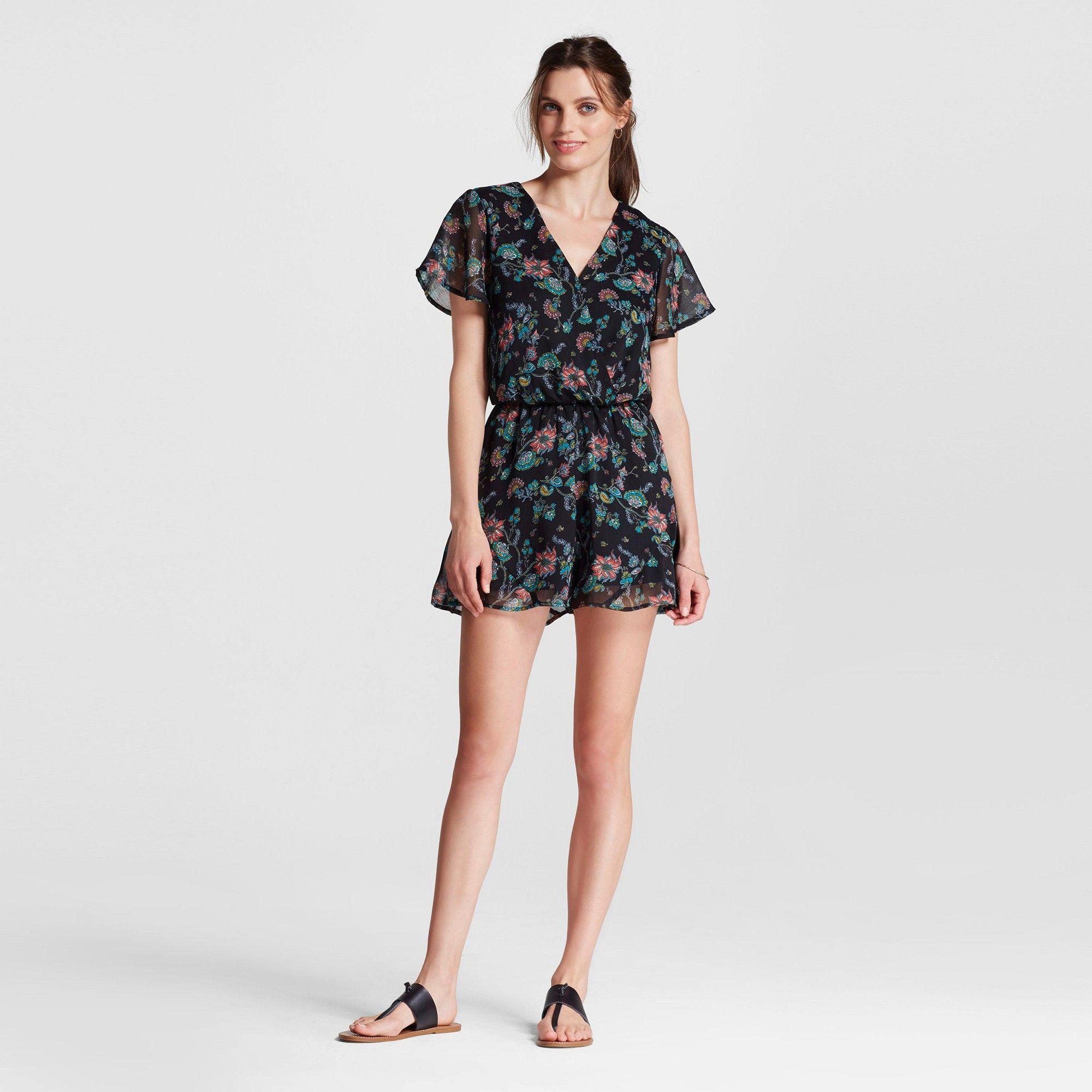 f06b1901afa Women s V-Neck Short Sleeve Romper - Xhilaration (Juniors )