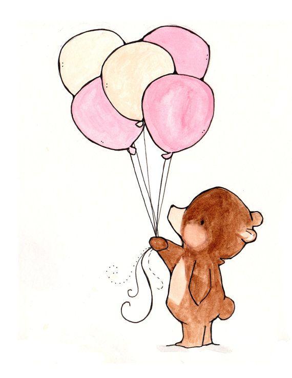 Balloon di ArtPittura ad Bear Dipinto acquerello Nursery porcellana MpUSVGqz