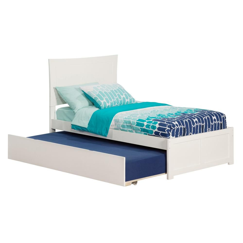 Atlantic Furniture Metro White Twin Platform Bed With Flat Panel