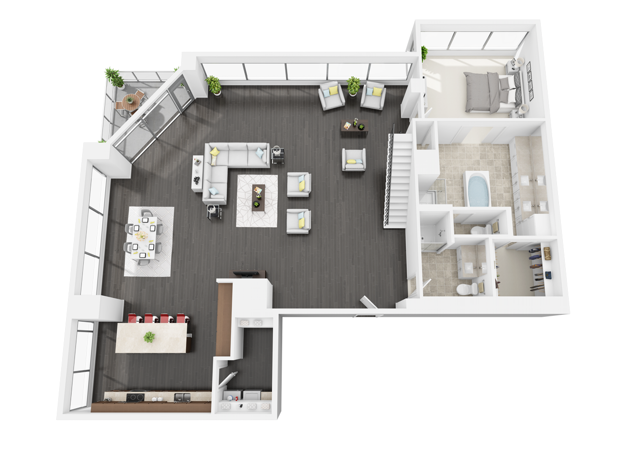 Watermarke Tower In Downtown Los Angeles Ca Is Now Offering One And Two Bedroom Apartments For Rent V Apartment Layout Apartment Floor Plans Sims House Plans