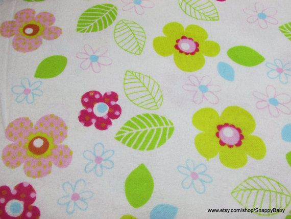 Flannel Fabric  Happy Floral   1 yard  100% Cotton by SnappyBaby