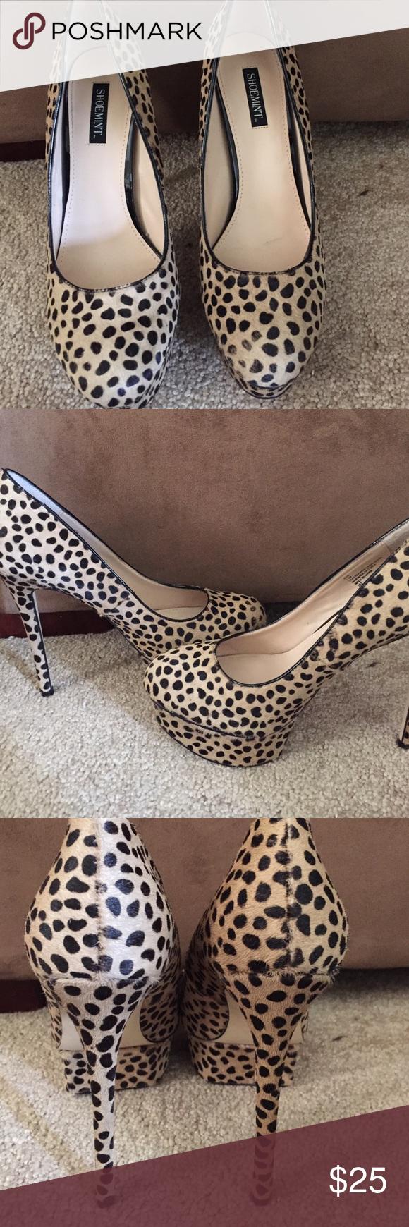 Leopard print heels Shoemint pony hair high heels. Heel height is 5inchs platform is 11/2inchs. Like new condition. Shoemint Shoes Heels