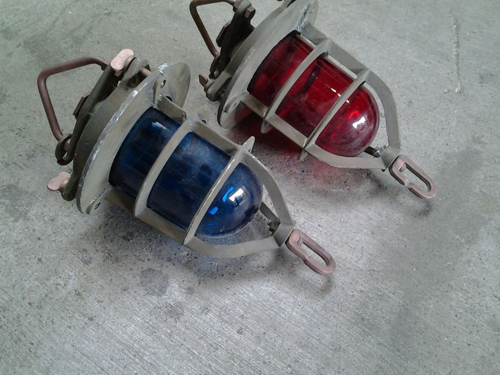 Sconce, Red/Blue-Hanging from Black Dog Salvage