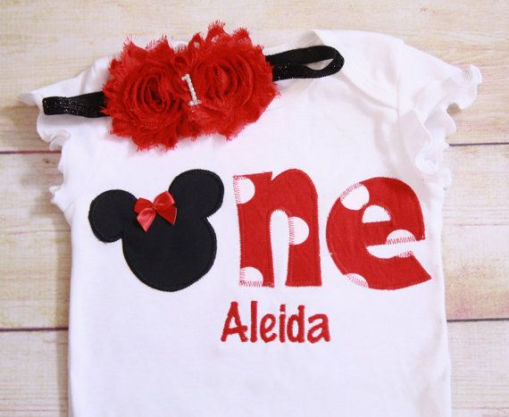 """RED Minnie Mouse Inspired Birthday """"One"""" Shirt for Girls First Birthday - 1st Birthday - Black and Red Polka Dots- Matching Headband"""