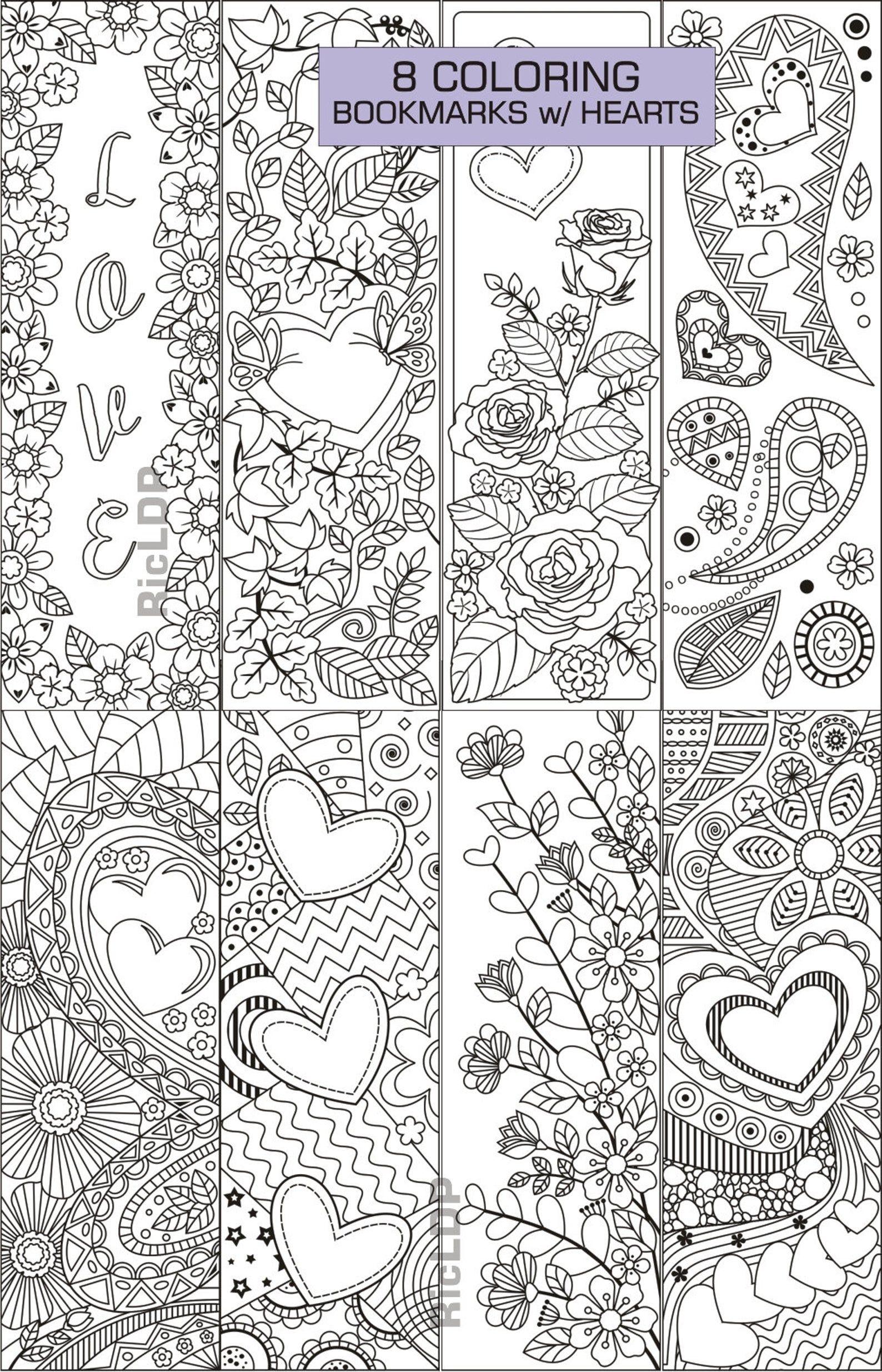 satz von 8 färbung lesezeichen mit herzen kunst doodles