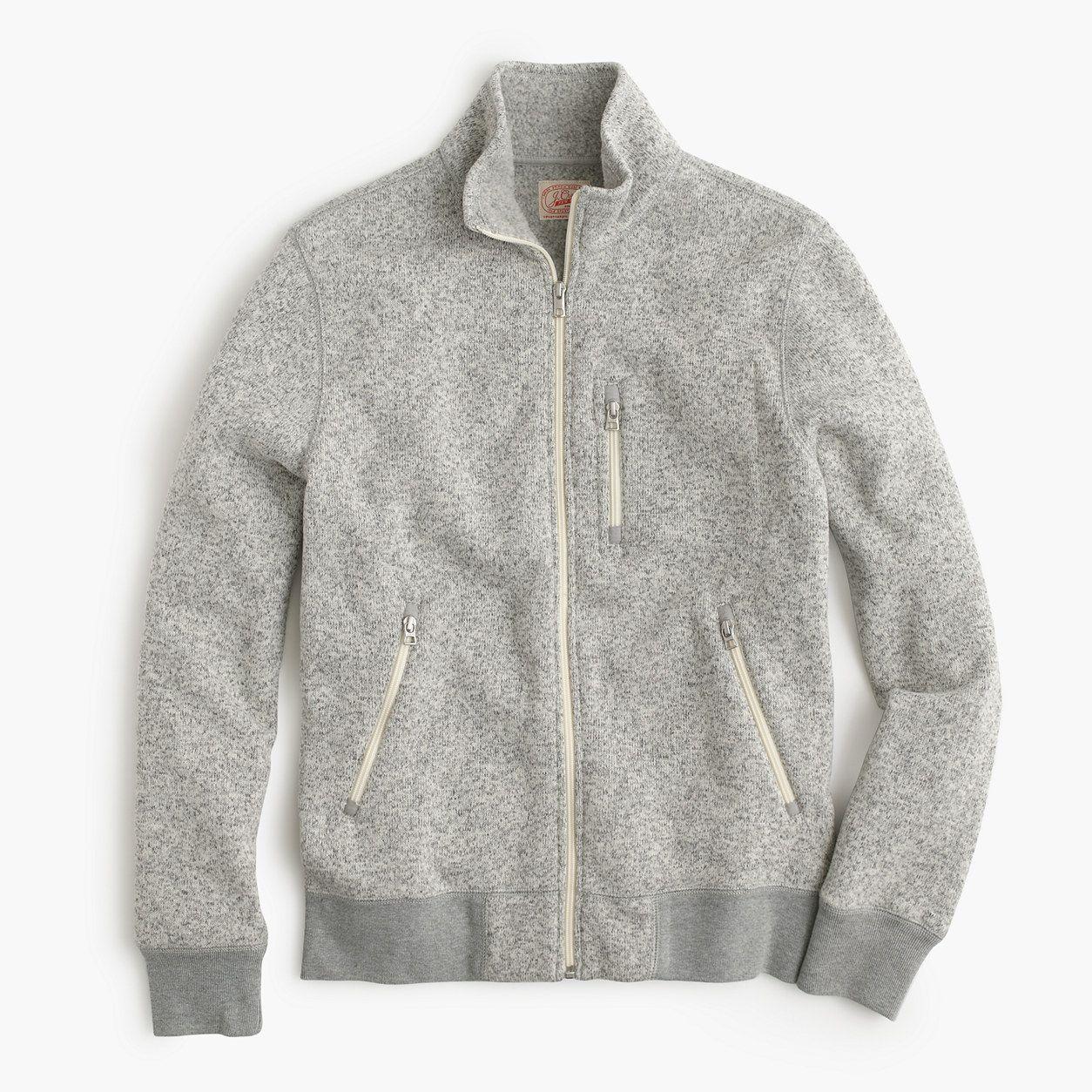 Jcrew mens summit fleece fullzip jacket in heather stone size xl