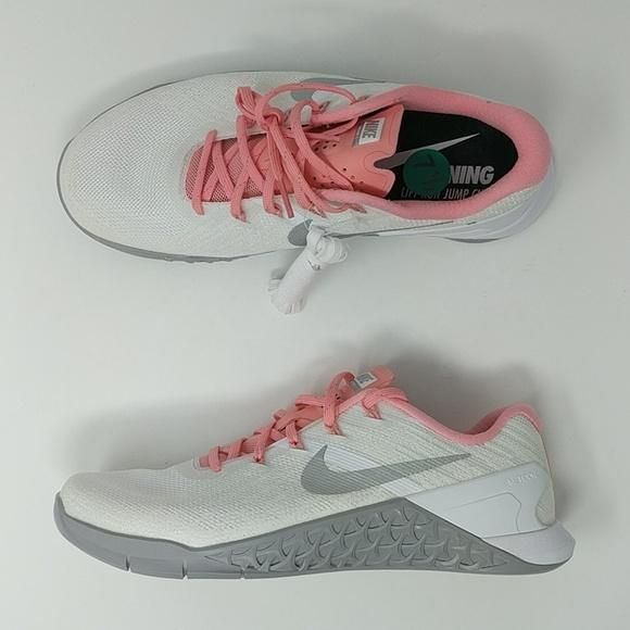 online store 5fa34 cae47 Nike Metcon 3 White Pink Metallic Silver Women s Training Shoes 849807 –  LoneSole
