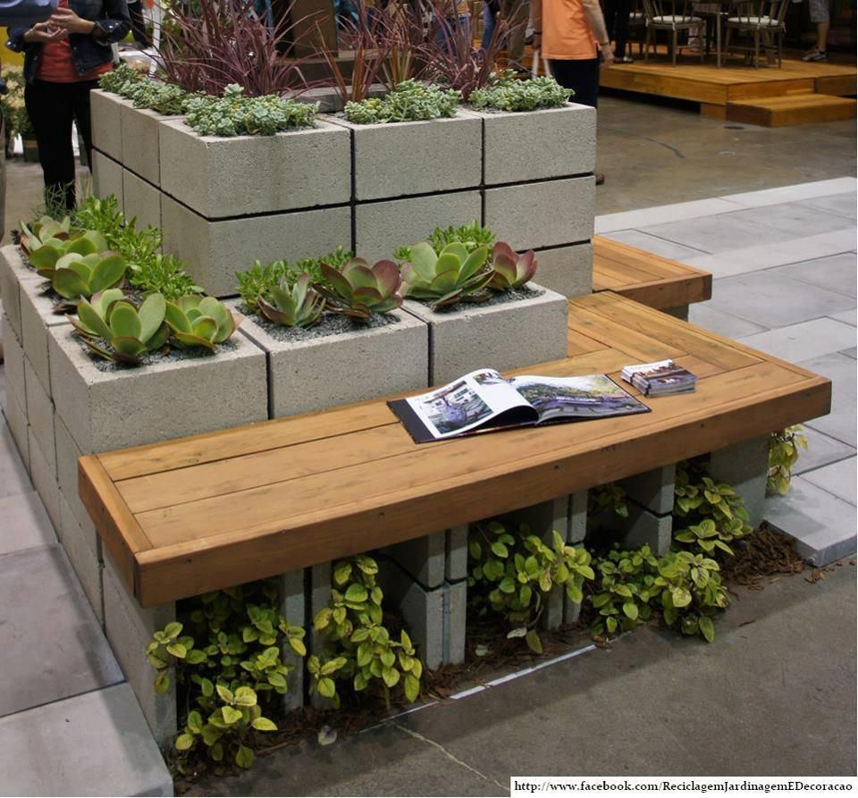 Diy patio furniture cinder blocks - Concrete Garden Benches Modern Garden Decorating With Cinder Block Planter With Bench Inspiration And Design Ideas For Dream House Concrete Garden Furniture