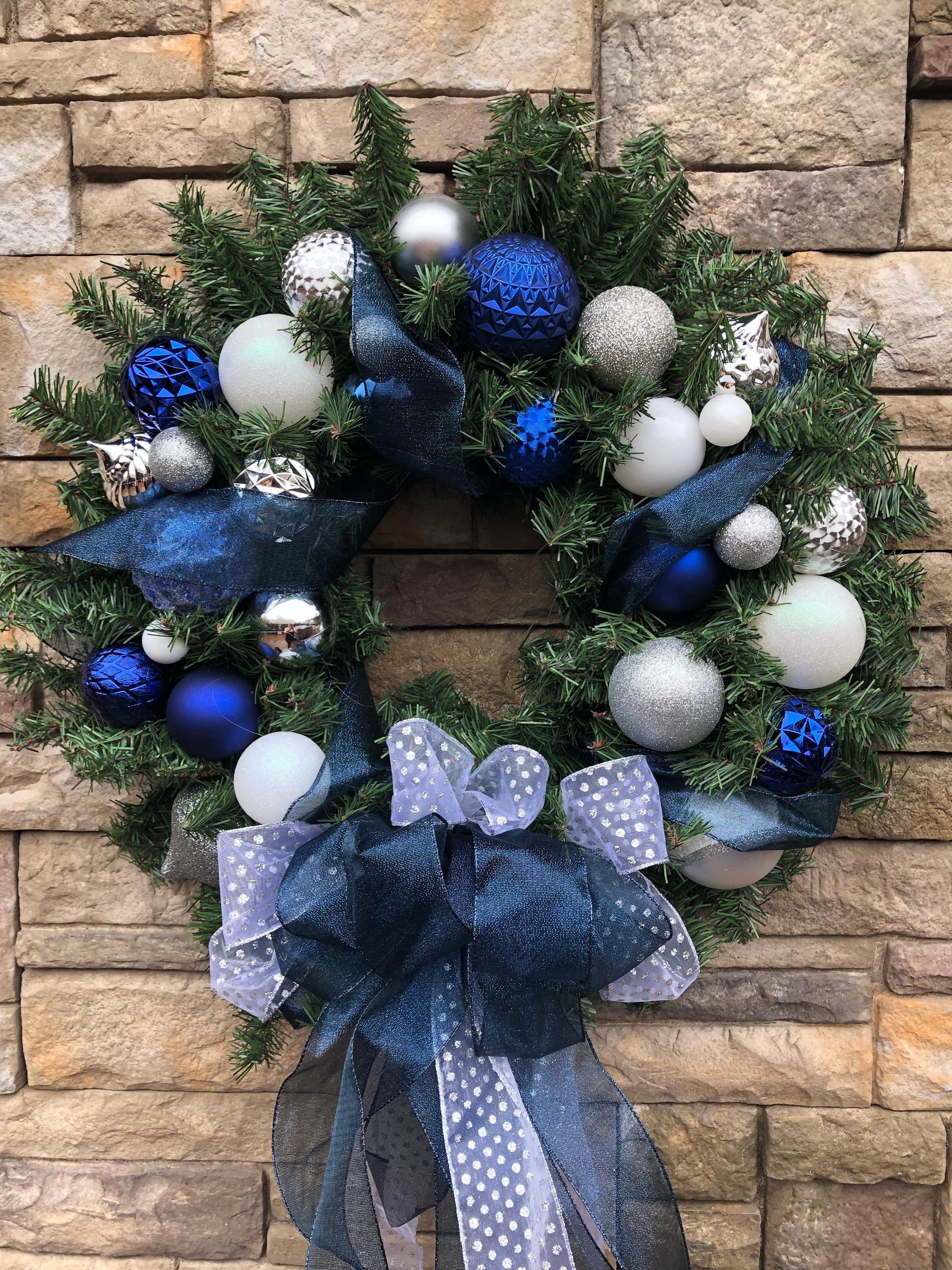 Extra Large Shimmering Navy Blue Silver Faux Evergreen Wreath Navy Blue Christmas Wreath Silver Blue Holiday Front D Wreath Decor Faux Branches White Ornaments