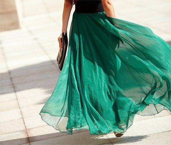 404d2bb7633d 17 Colors Double Silk Chiffon Long Skirt   Summer Skirt  Maxi Dress  Bridesmaid  Dress