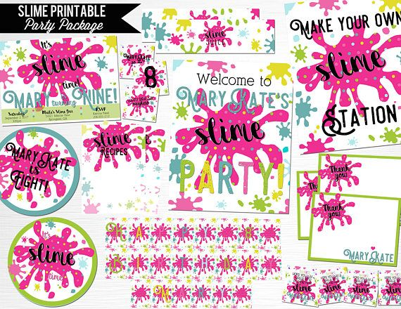 Slime Birthday Party Package Printable Digital Decor YOU Print Blank Pink Teal Neon Bright  This is an example of what we can do, if you want to add/subtract items or change colors just drop us a line.  This package includes:  5x7 invitation (can be done with or without photo) 8x10 door