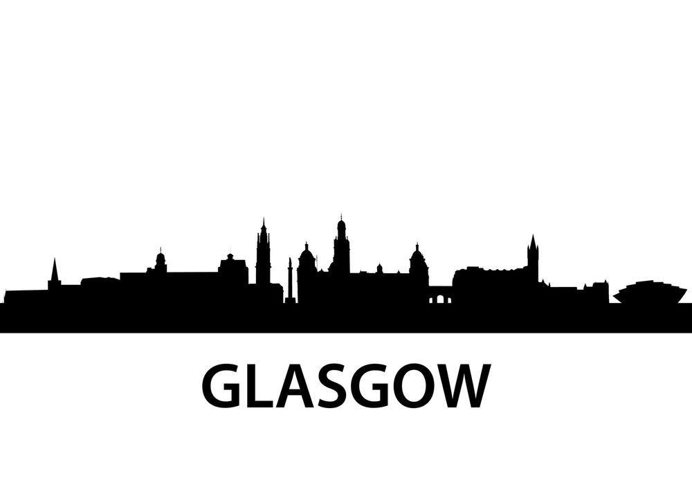 Glasgow Scotland City Skyline Silhouette Vinyl Wall Art