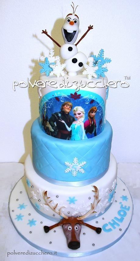 Torta decorata a 3 piani frozen disney con olaf il for Torte di compleanno a due piani semplici