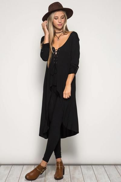 A Fall Item -    Roll Up Sleeve High and Low Tunic Top with Front Lace Up Detail