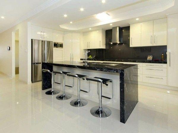 moderne küchenbar marmor schwarz weiß Küche - Einrichtungsideen - küche mit bar