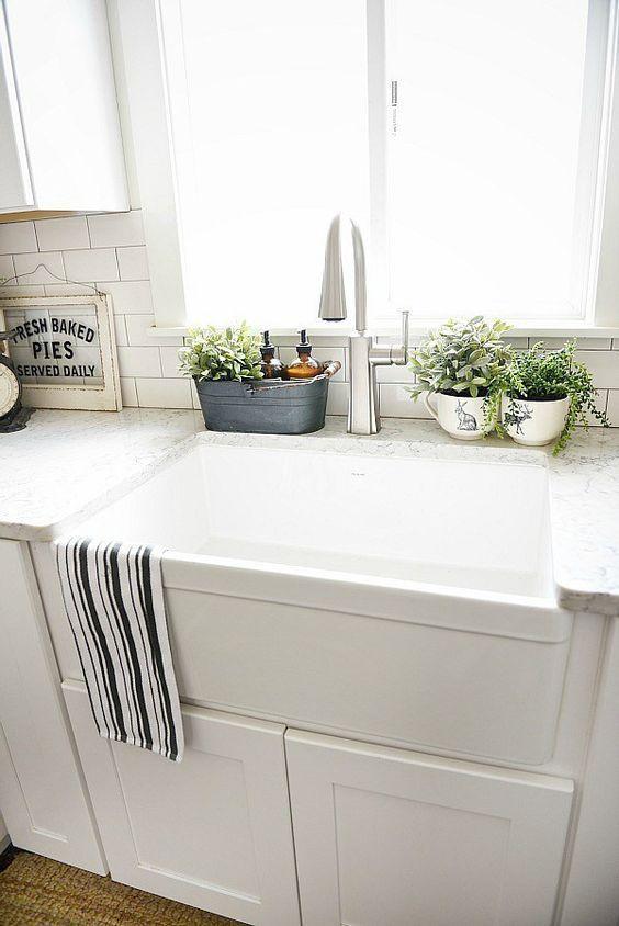 10 Ways to Style Your Kitchen Counter Like a Pro   Kitchen ... on Farmhouse Kitchen Sink Ideas  id=42880