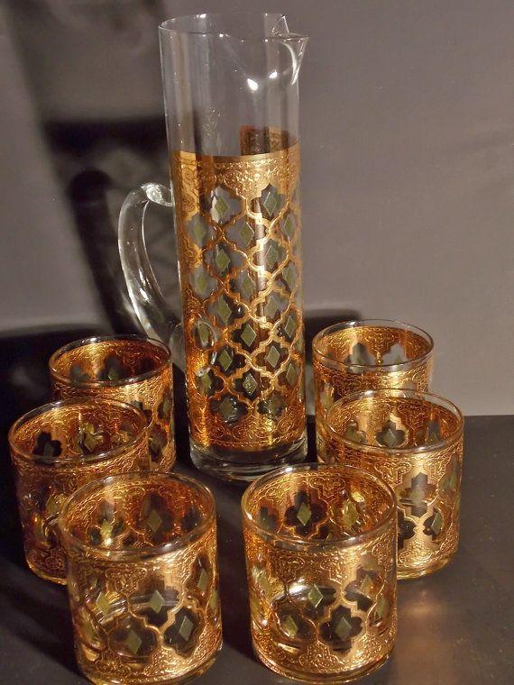 Vintage valencia culver set of gold leaf glassware and - Vintage valencia ...
