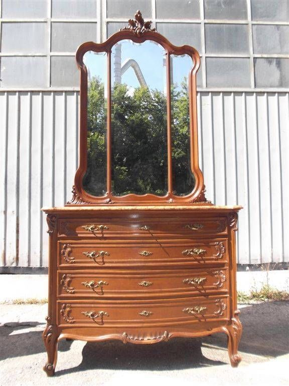 ITALIAN ANTIQUE DRESSER - BEDROOM SET DRESSER - MARBLE TOP BEDROOM