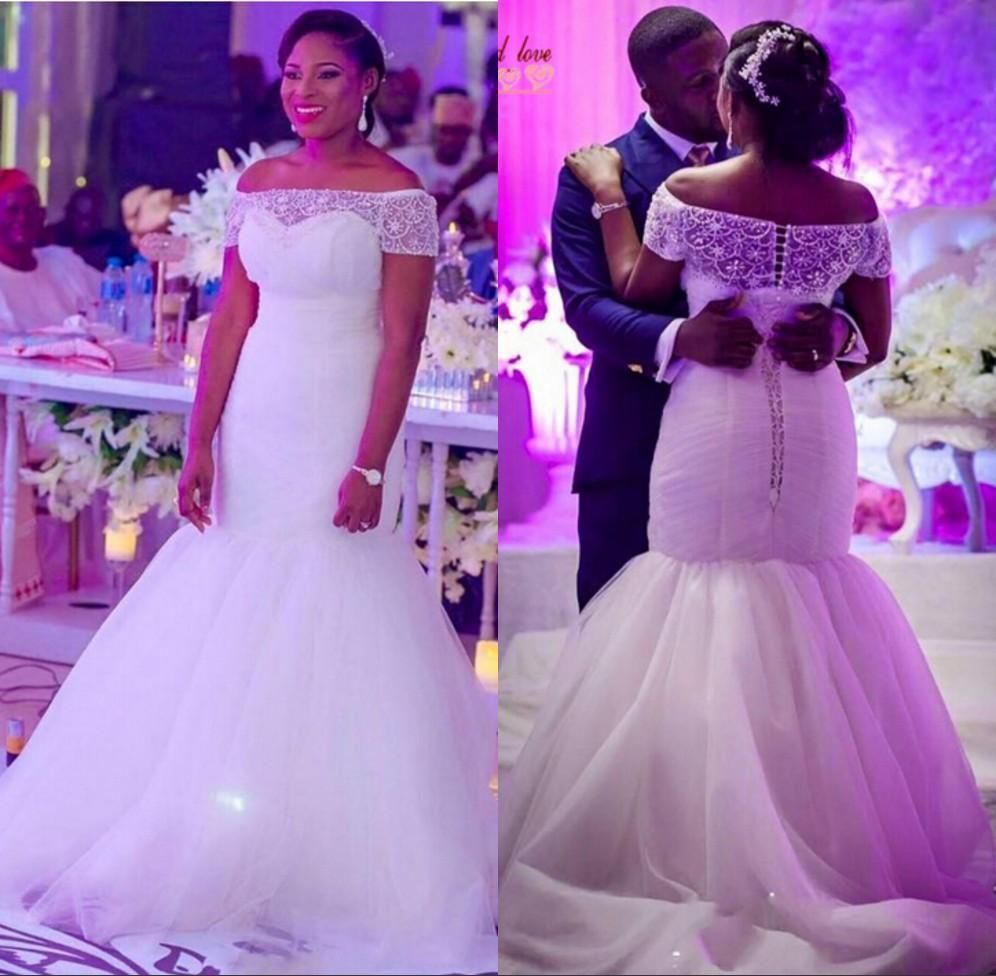 Modest Plus Size Sheer Beaded Neck Wedding Dresses For Nigeria Brides Mermaid 2016 Corset Back