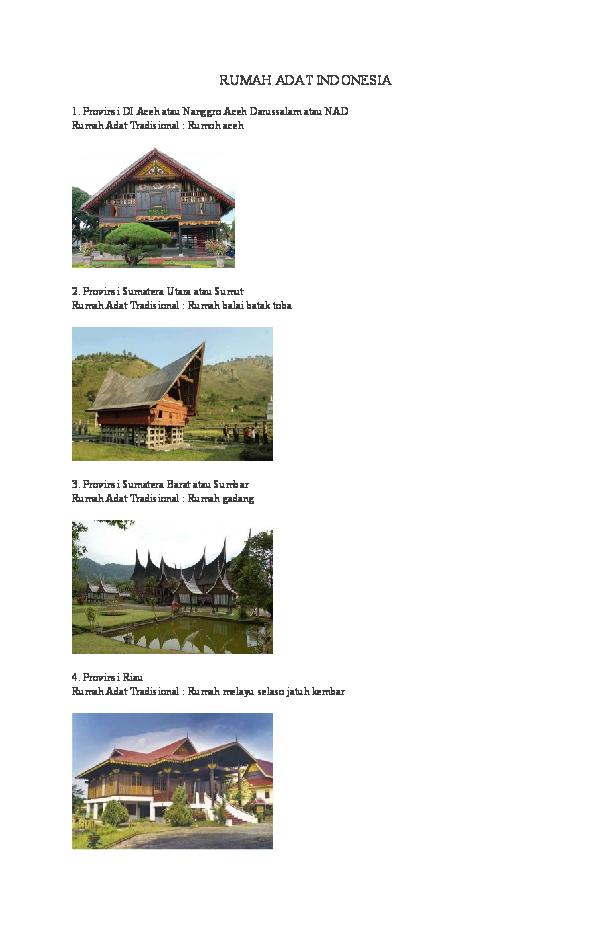 Gambar Rumah Adat Provinsi Sumatera Utara