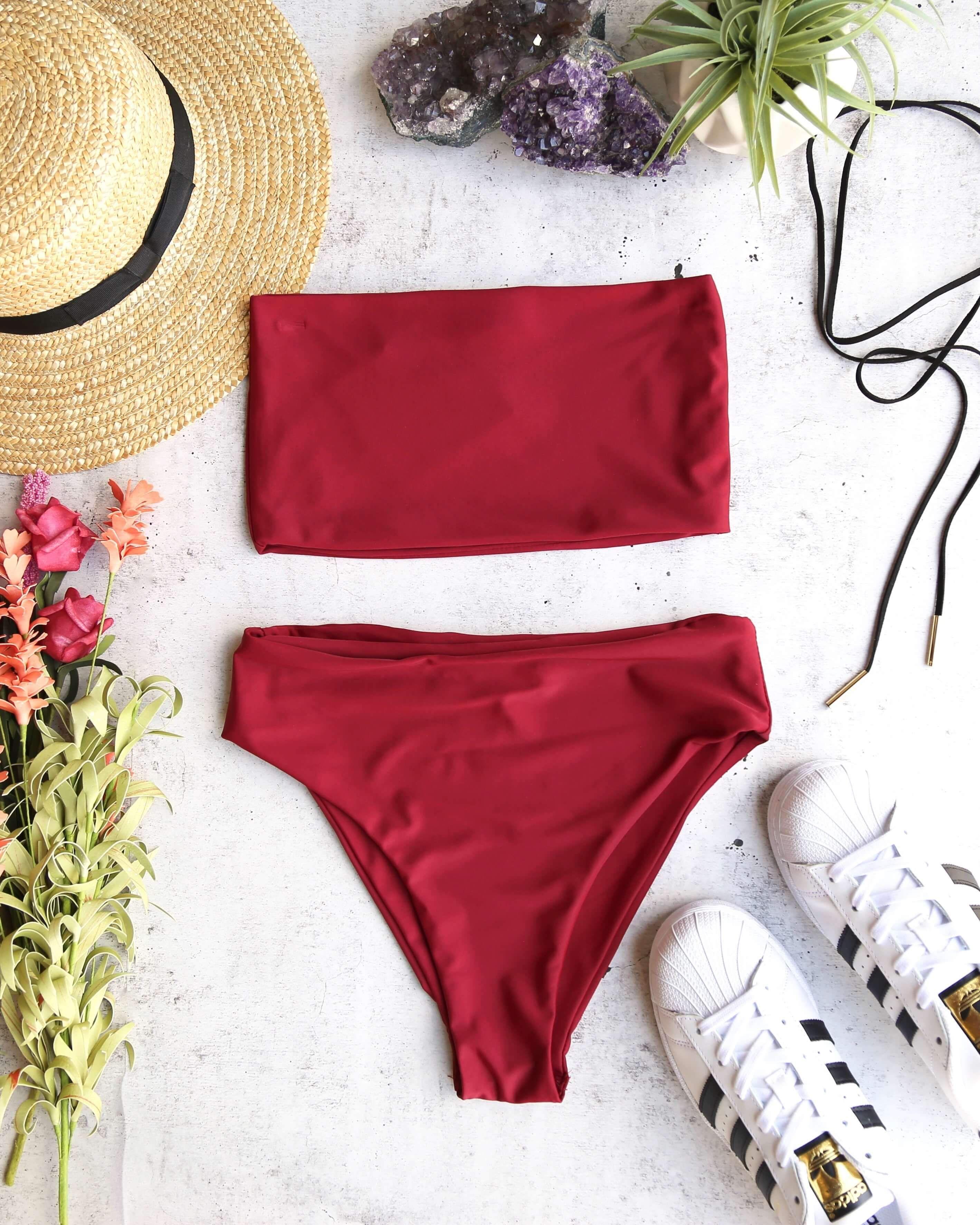 19d05d055faf7 Reverse - lean on - high waisted bandeau bikini set - more colors ...