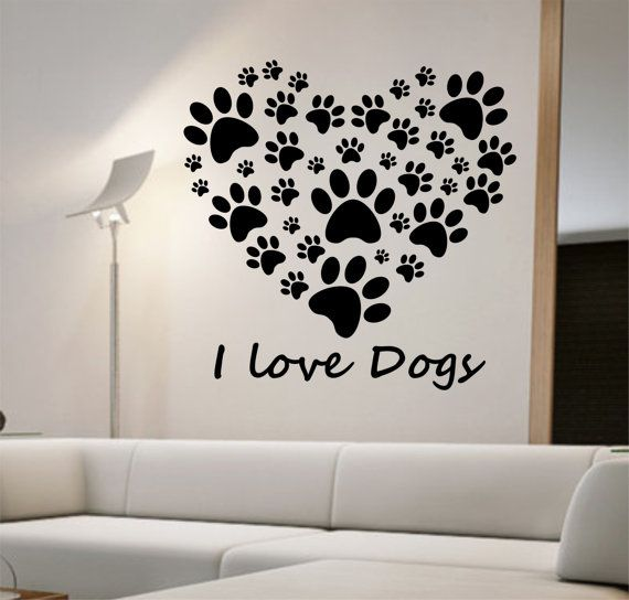 I Love Dogs Heart Wall Decal Sticker Art Decor Bedroom