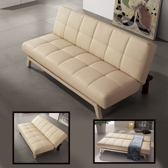 Paris Cream Faux Leather Sofa Beds Outstanding Value Leather