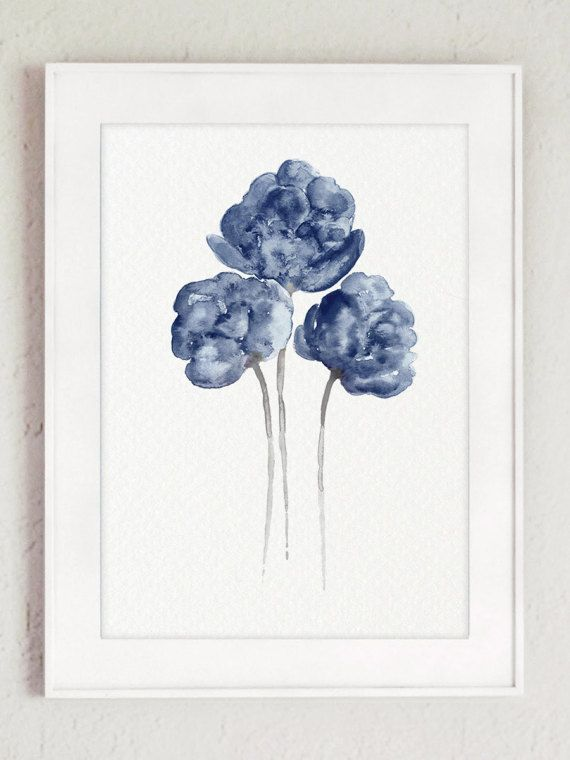 Peony Watercolour Painting Navy Paper Flower Set Of 3 Flowers Art