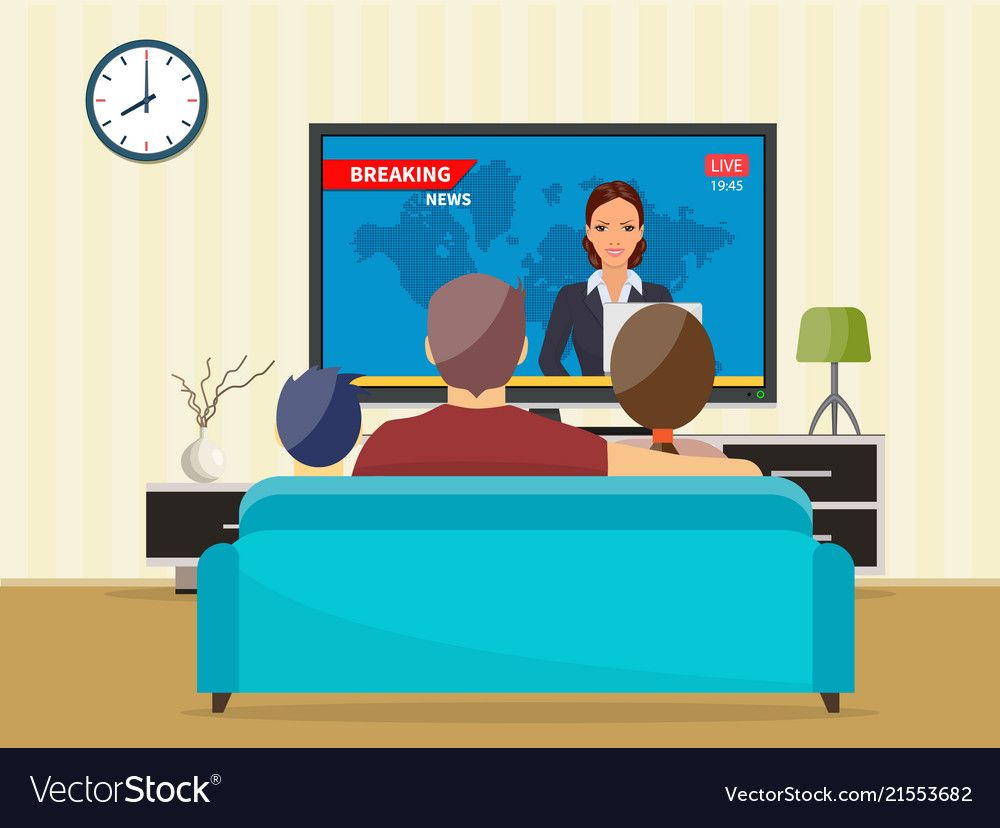 Family With Cat Watching Tv Daily News Program Sitting On The Couch At Home In The Living Room Download A Free Prev Ilustrasi Buku Objek Gambar Gambar Digital