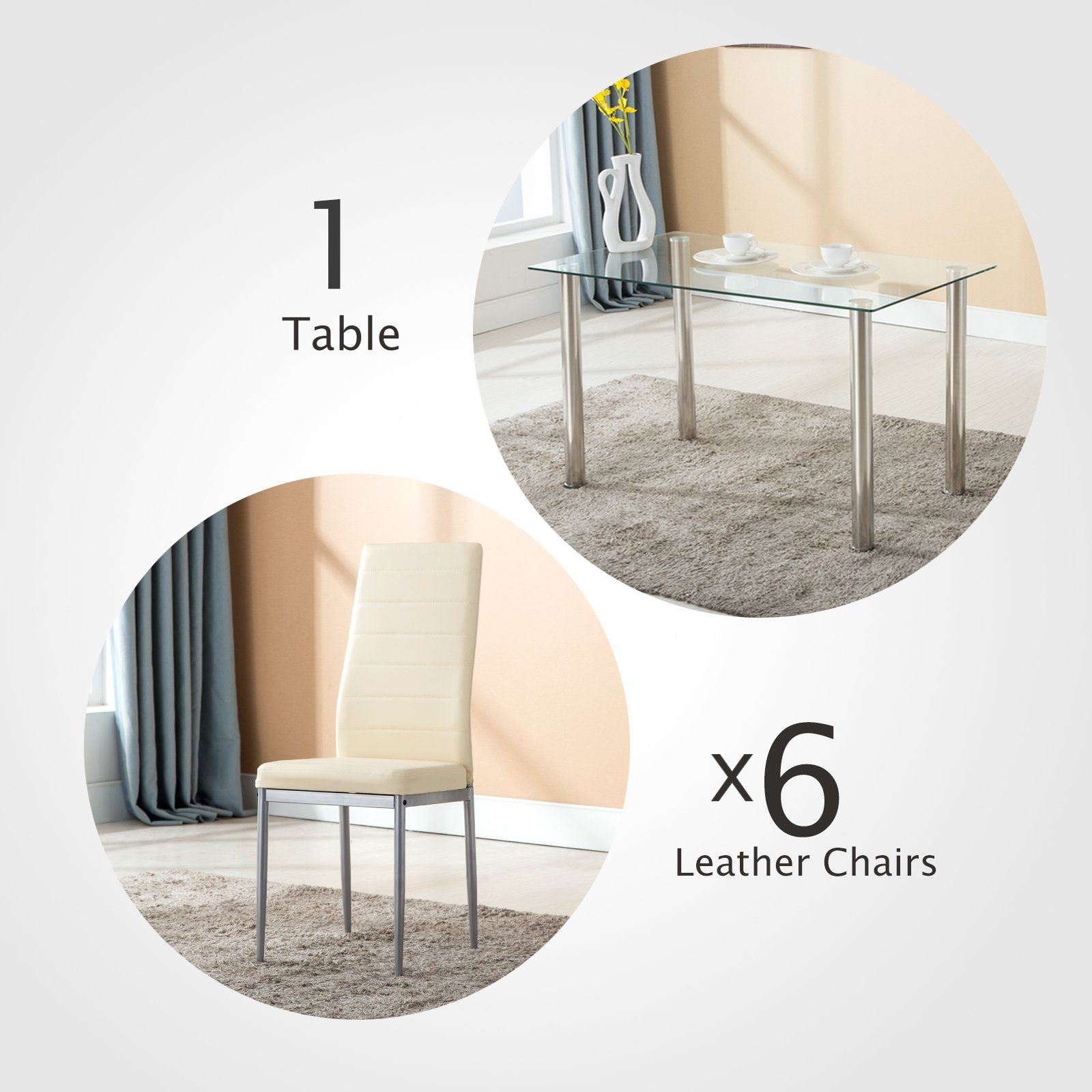 3a777cb888f76 Mecor 7 Piece Kitchen Dining Set Glass Top Table with 6 Leather Chairs  Breakfast Furniture Beige