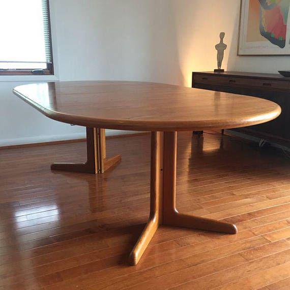 skovby danish modern teak expandable dining table round