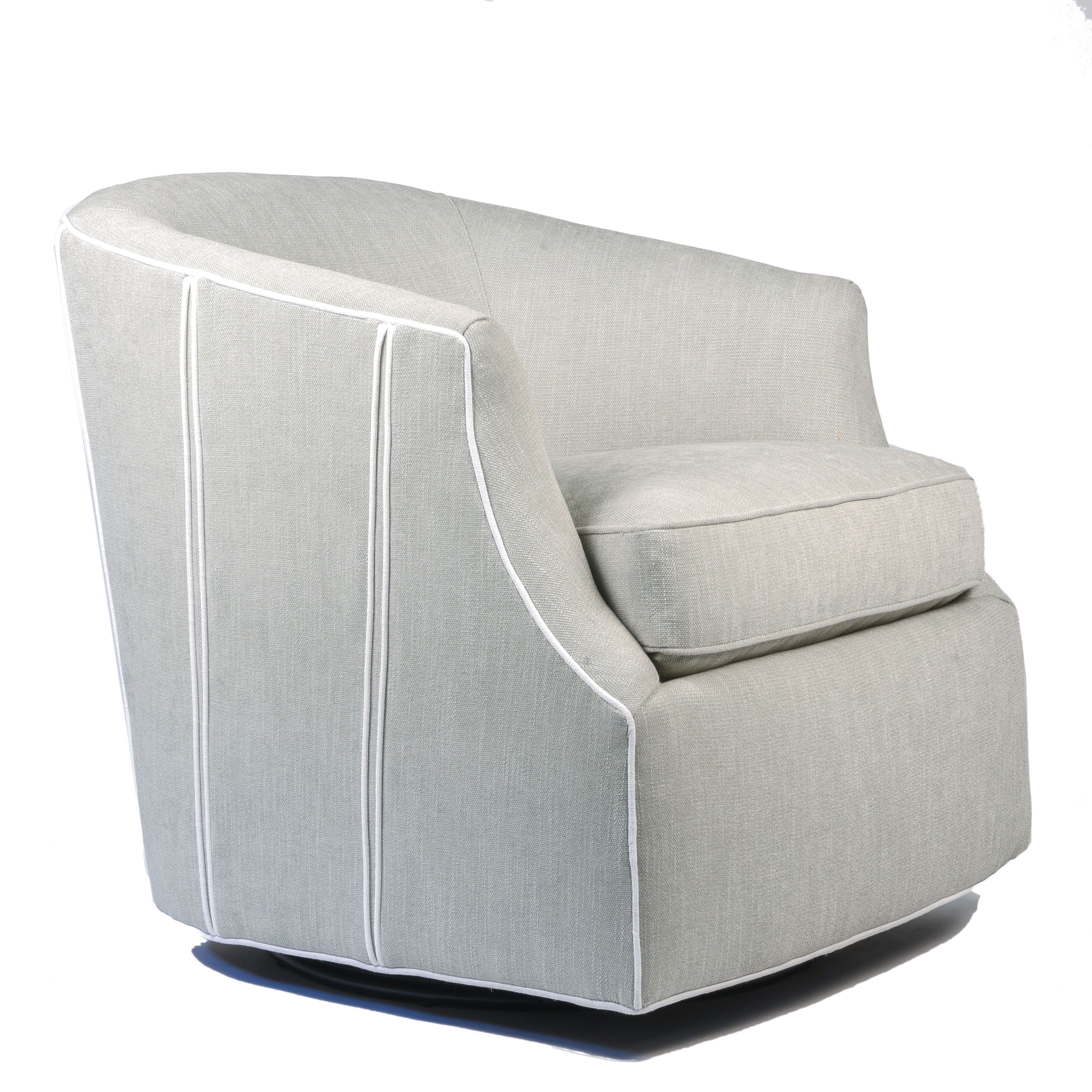 Miraculous Gray Swivel Chair With White Piping Custom Upholstery Sold Beatyapartments Chair Design Images Beatyapartmentscom